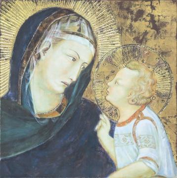 王峥 临摹罗伦采蒂《圣母子》 40x40cm 木板裱布坦培拉 2014