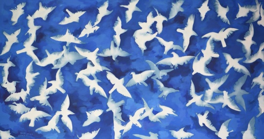 张大力《蓝色天空》220 x 410 cm 布面油画,蓝晒 2016