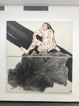 梁缨《毛与皮》97×180cm×2 纸本设色 2016-2017