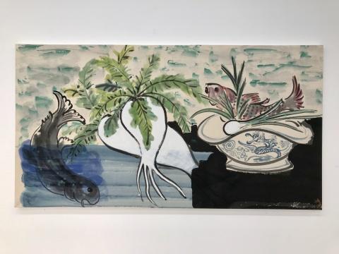 梁缨《双鱼白萝卜》97x180cm 纸本设色 2016-2017