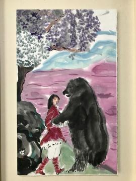 梁缨《冬眠的熊醒来了》53x32cm 纸本设色 2016-2017