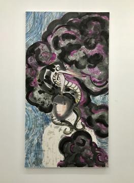 梁缨《紫云》180×97cm 纸本设色 2016-2017
