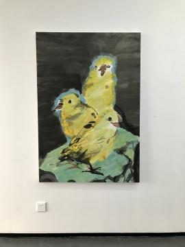 梁缨《三黄鸡》142×97cm 纸本设色 2016-2017