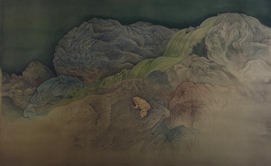 《金蟾栖石图》65×40cm绢本2017