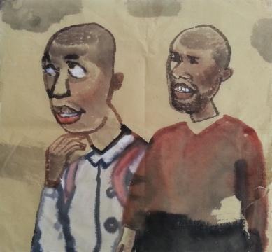 《面对陌生的黑人男子汉》 水墨 41×44cm 2013