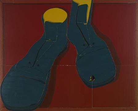 李吉亮《鞋》布面综合材料 2017250cmx200cm