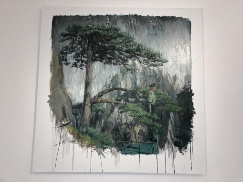 许力炜 《松风高士》 120×120cm 布面油画2017