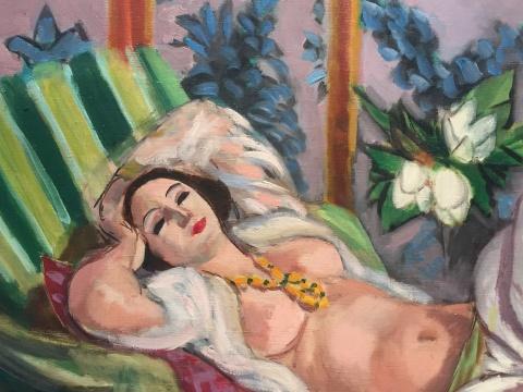 马蒂斯 《侧卧的宫娥及玉兰花》 60.5×81.1cm 油彩画布 1923  估价待询