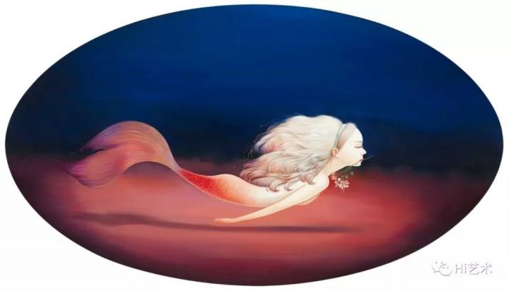 """《深海No.2》90×160cm布面油画2017  """"我觉得《深海No.2》特别像我一个人在画室里画画的感觉——潜入海底,特别安静,可以自由畅游在深海,什么都是我的。"""""""