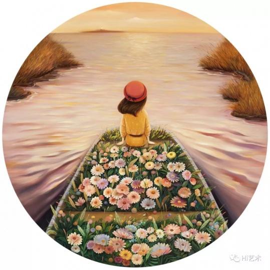 """《乘风破浪》D.150cm布面油画2017 """"这张《乘风破浪》里,其实看不到大风大浪,但是更有一种经过风浪之后的平静安稳的感觉。女孩在一艘布满鲜花的船上,向远方灯塔的方向驶去,有着明确的方向感,像家一样,引领着方向。"""""""