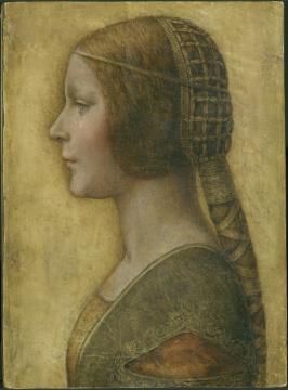 "Leonardo da Vinci 列奥纳多达芬奇   ""La bella principessa"" (Portrait of young woman Bianca Sforza) 美丽公主 (碧安卡桑芙丝的肖像)    33×23,9 cm    chalk and ink, black pencil, red pencil and white lead on parchment 粉笔、墨水、黑色铅笔、 红色铅笔和白铅,羊皮纸    1495-1496"
