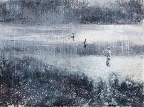 """刘海辰《""""下雨了""""》 36x48cm纸本油画棒 2018"""