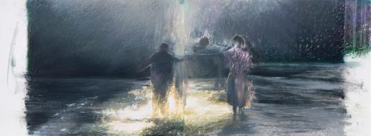 刘海辰《Farewell Fog》36x96cm纸本油画棒 2018