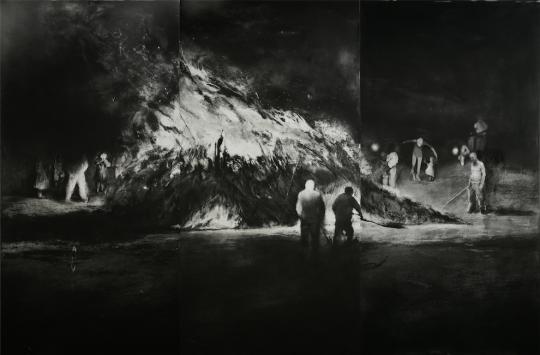 刘海辰《碎木·杂草和村庄上燃烧的火No.1》 100x150cm铜版2014