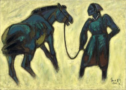 《蒙古女人和马》65X91cm 1994年
