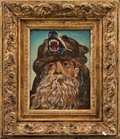 """《偶像-大禹No.2》 36.4×31.2cm(含框) 布面油画 2017  """"在神话故事中,大禹曾化身为熊开渠引水。而在画中,大禹是由一个年轻人装扮的,带了胡子和一个熊头帽子。"""""""