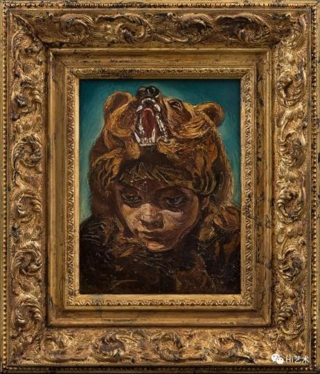 """《偶像-巫》 36.4×31.2cm(含框) 布面油画 2017  """"带熊头的人,是北方游牧民族里经常出现的萨满形象。"""""""