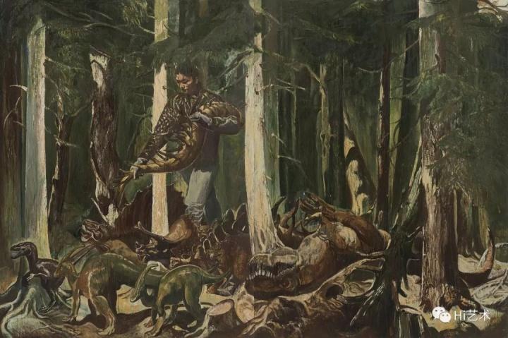 """《偶像-驯兽师》 150×300cm 布面油画 2017  """"这件作品中的主人公手捧一条凶猛恐龙的尾巴在引诱众恐龙前行。动物用气味标准自己势力范围的本能,象征一种权力。"""""""