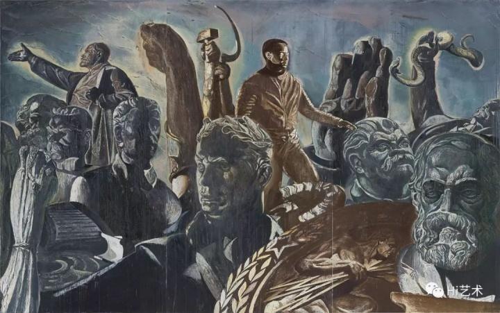 """《偶像-男神》 280×450cm 布面油画 2017  """"每一个形象都佩戴着相应的法器,象征他们具备某种超能力。也许是他们的超级能力塑造了人们看待世界的眼光。"""""""