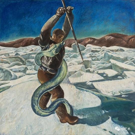 《偶像-凿冰》 200×200cm 布面油画 2018