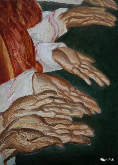 """《五官检查-手》 35×25cm 布面油画 2017  """"五个感官是人接触世界的直观方式,而检查是明确的标准。"""""""