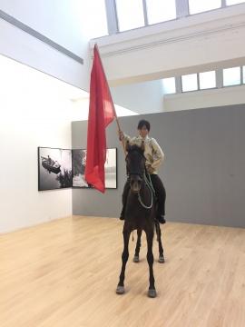 张大力 《风马旗》 220×80×330cm 硅胶、标本 2008