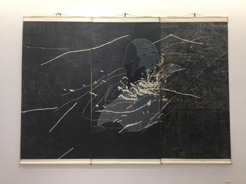 方力钧 《1996.19》 244×366cm 木刻版画 1996