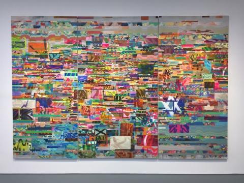 《得漂得漂》 250 x 373 cm布面油画,丙烯,树脂,喷漆,数码打印 2018