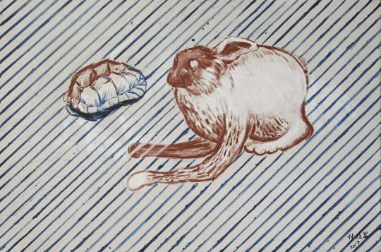 《乌龟与兔子》 布面丙烯 120x80cm 2018