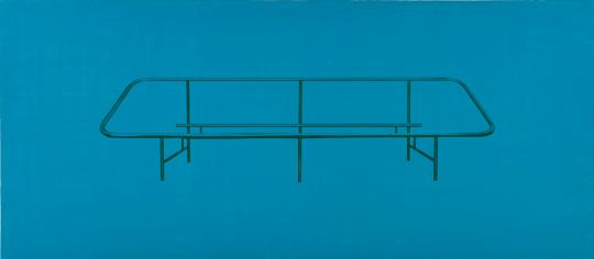《沙发骨架 1》81×183cm布上丙烯,丝网印刷2017