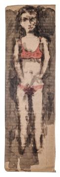 《众生系列NO.31》 11x36cm 纸本炭笔水墨水彩 2009年