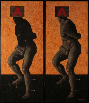 七户優 《宇宙的模型》 木板丙烯 162×68.5cm×2 1997