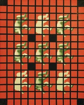 王广义《批量生产的圣婴—红色》150×120cm 布面油彩 1990 图片版权 © 龙美术馆