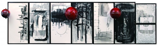 陈箴《无题》100×361×36cm 水墨、纸本、铝、有机玻璃、压克力球 1993 图片版权 © 龙美术馆