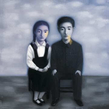 张晓刚《血缘:大家庭系列》150×150cm 布面油彩 1998 图片版权 © 龙美术馆