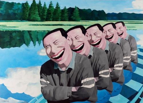 岳敏君《在湖上》182×250cm 布面油彩 1994 图片版权 © 龙美术馆