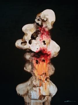 周春芽《太湖石》150×120cm 布面油彩 2000 图片版权 © 龙美术馆