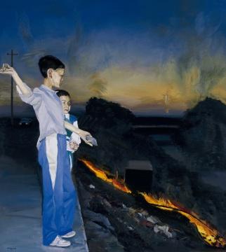 刘小东《烧野火》152×136cm 1998 布面油彩 图片版权 © 龙美术馆