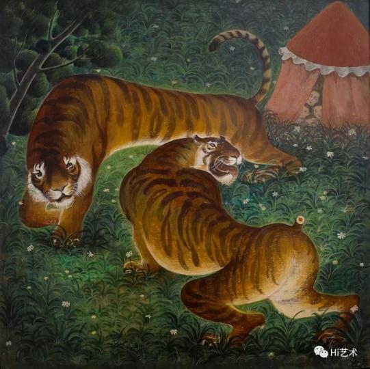 《两只老虎真奇怪》 40×40cm 木板坦培拉 2015