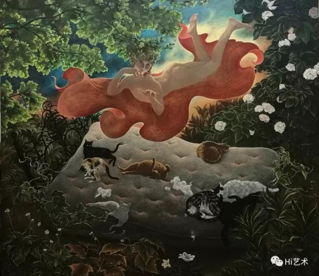 《猫园》 113×130cm 木板坦培拉 2018