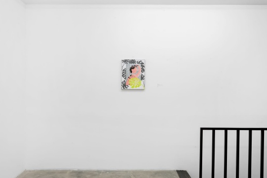 烟囱 《自己剃头》 48x38cm 布面丙烯、铅笔 2018
