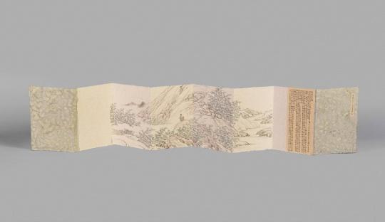 彭薇 《习画记 -1-4》 144×23 cm×2 册页,宣纸上水墨及综合材料 2017