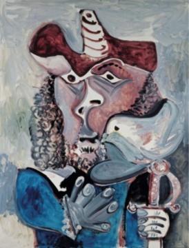 巴勃罗·毕加索《带鸟的步兵》 146×114cm 布面油彩 1971