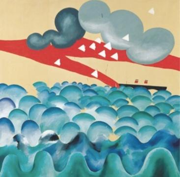 大卫·霍克尼《横渡大西洋》 183×183cm 布面油彩 1965