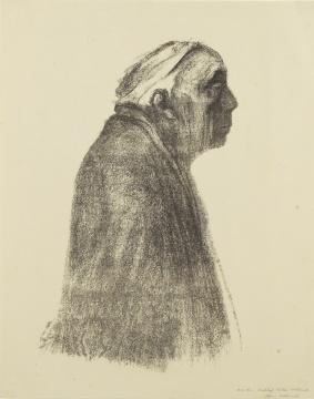 凯绥·珂勒惠支《面朝右侧自画像》 48×29.5cm 石版 1938