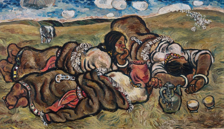 张晓刚的毕业创作《草原组画:天上的云》69.4x118.5cm布面油画 1981