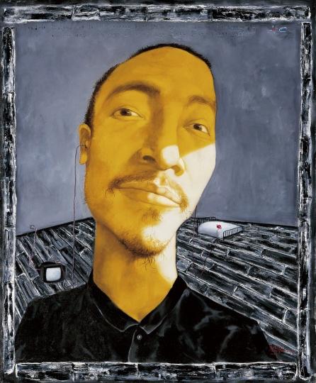 《黄色肖像》108×90cm布面油画1993年