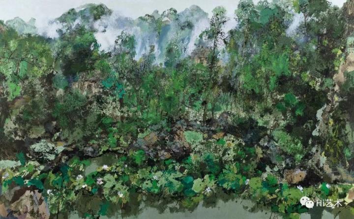 洪凌《夏荷》150x240cm油彩画布2003