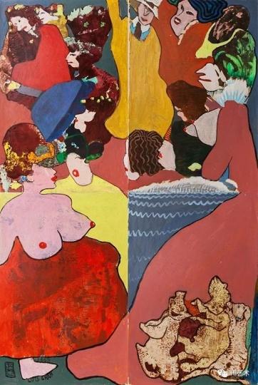陈福善《争宠图》 152x102cm 塑胶彩纸本 1968
