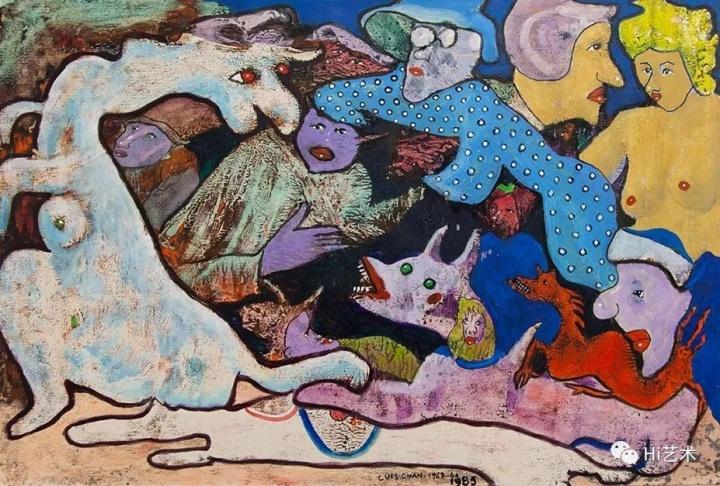 陈福善《无题》(观龙的人群) 50.5x75cm 1968-1985